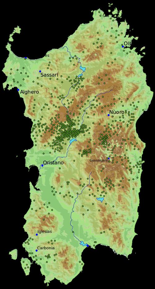 Cartina Archeologica Sardegna.Cartina Tombe Dei Giganti Della Sardegna Tracce Di Sardegna
