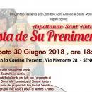 Festa de Su Prenimentu a Senorbì, ecco il programma di sabato 30 Giugno 2018