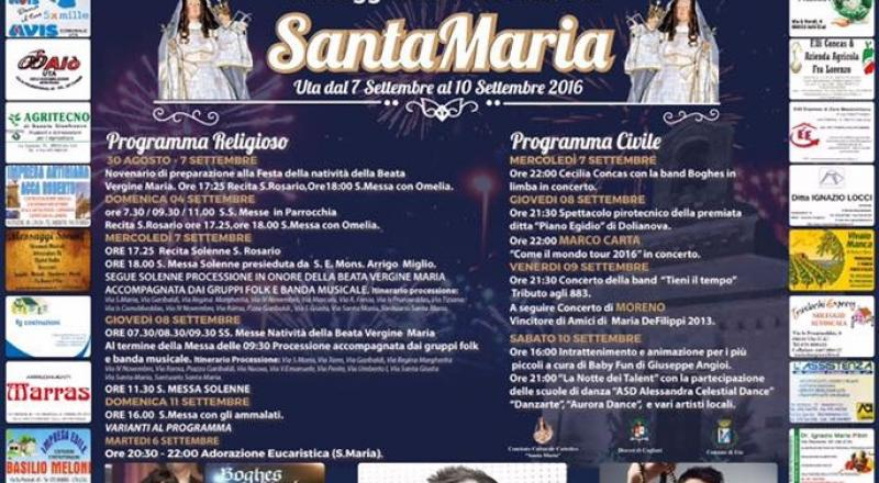 Festa Santa Maria Uta, programma dal 6 al 9 Settembre 2019