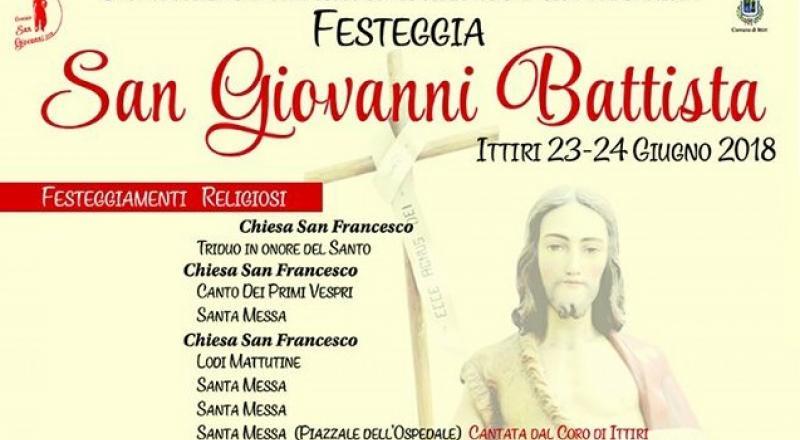 Festa di San Giovanni Battista 2018 a Ittiri, ecco il programma completo dal 21 al  26 Giugno