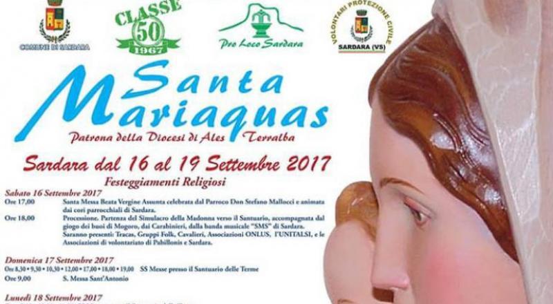 Festa di Santa Mariaquas 2017 a Sardara, ecco il programma dell'evento dal 16 al 19 Settembre 2017