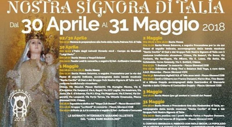 Nostra Signora di Talia a Olmedo, ecco il programma dei festeggiamenti dal 30 Aprile al 31 Maggio 2018